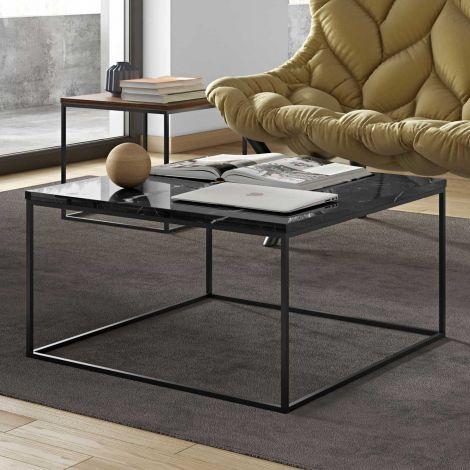 Table basse Gleam 75x75 - marbre noir/acier