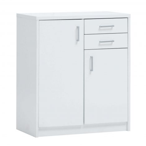 Commode Spacio 84cm 2 tiroirs/2 portes - blanc