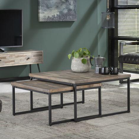 Set de 2 tables basses Teca 75x75 industriel - teck