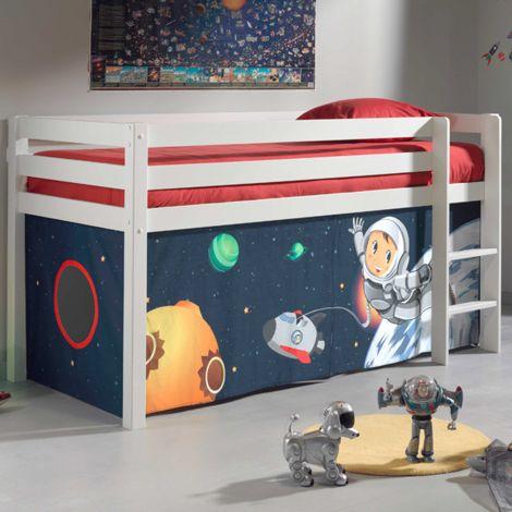 Lit mi-hauteur Charlotte blanc avec tente - astronaute