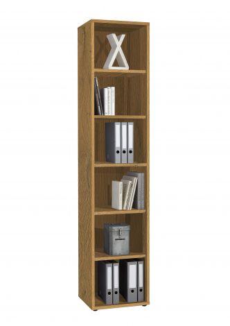 Bibliothèque Gabi étroite à 6 niches - chêne vieilli