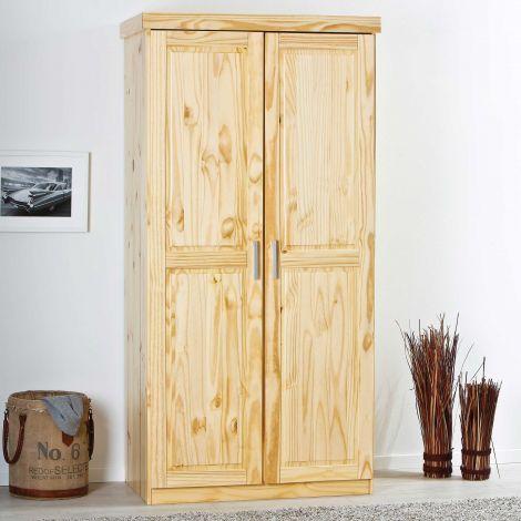Garde-robe Léon 95cm avec 2 portes - nature