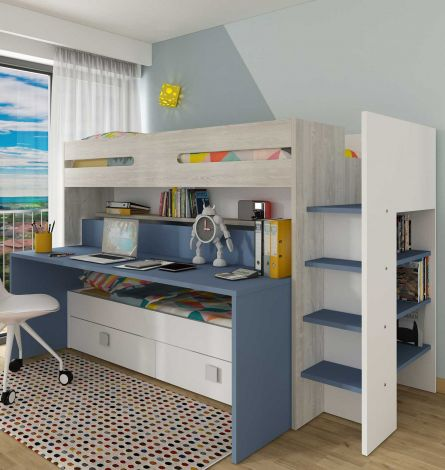 Lit mezzanine Billy avec bureau - bleu foncé