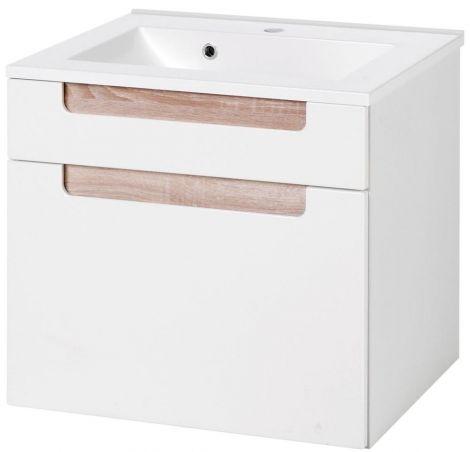 Meuble lavabo Siena 60cm - blanc/brun