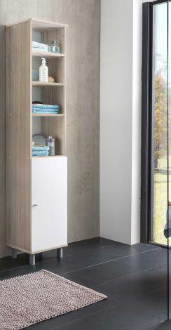 Colonne de salle de bains Benja 1 porte - blanc/chêne