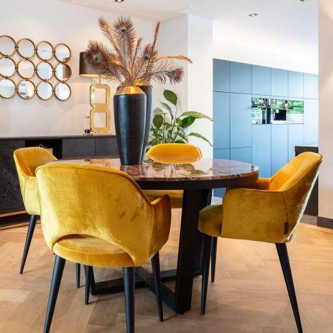 Table à manger Dalton Ø130 - marbre brun