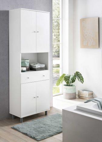 Armoire salle de bains Andrew 1 tiroir & 4 portes - blanc