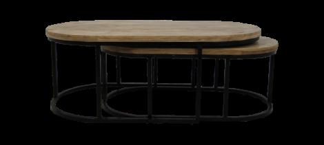 Table basse City - 120x60 cm - bois de manguier / fer - set de 2