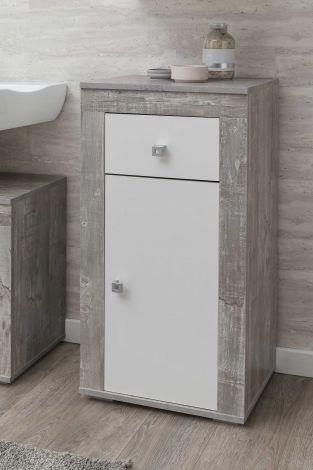 Armoire de salle de bains Rutger 1 tiroir & 1 porte - blanc/béton