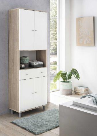 Armoire salle de bains Andrew 1 tiroir & 4 portes - blanc/chêne