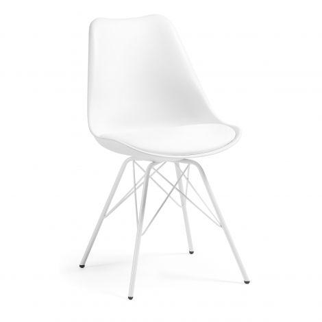 Chaise salle à manger Ralf métal/plastique - blanc