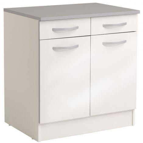 Meuble bas Spott 60 cm avec 2 tiroirs et 2 portes - glossy white