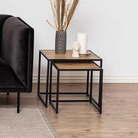 Set de 2 tables d'appoint Dover - noir/chêne sauvage