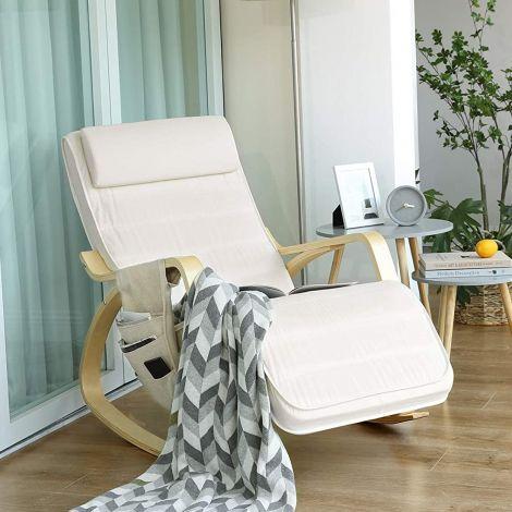 Chaise à bascule Romy avec poche latérale - beige/bouleau