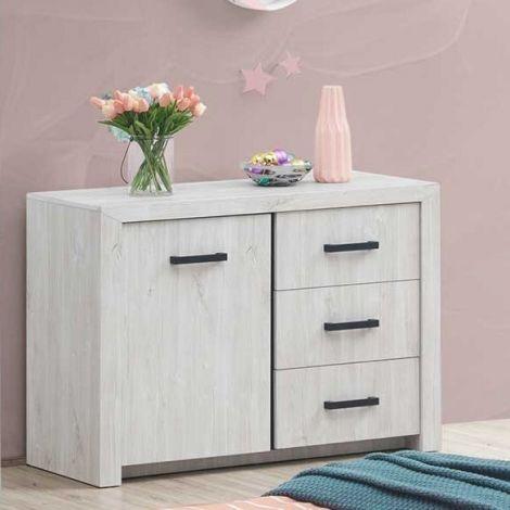 Commode Elvira 120cm avec 1 porte & 3 tiroirs - chêne blanc