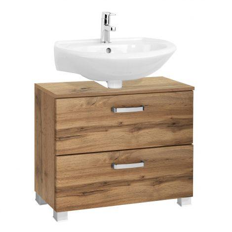 Meuble sous lavabo Bobbi 70cm 1 porte et 1 tiroir - chêne