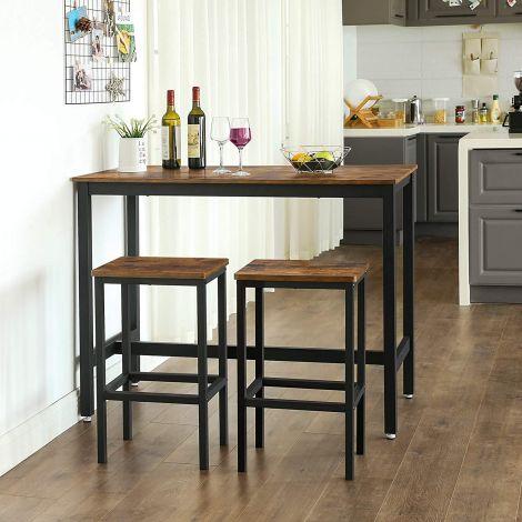 Ensembe table et 2 tabourets de bar Isolde 120x60 - brun/noir