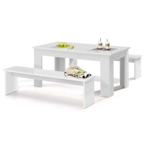 Table et bancs Munich 140cm - blanc