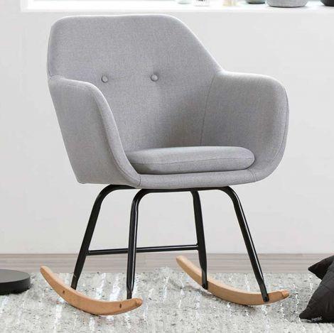 Chaise à bascule Hermeline en tissu - gris clair