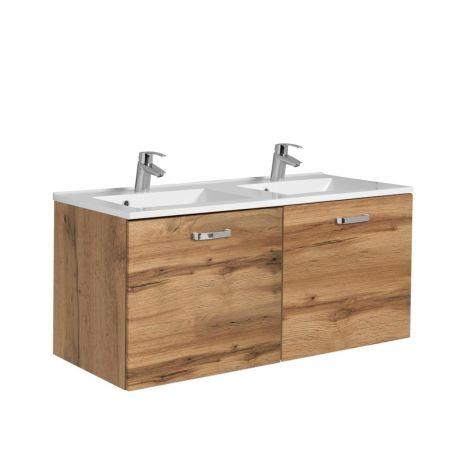 Meuble vasque Bobbi 120cm avec double vasque et 2 tiroirs - chêne