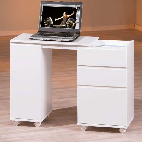 Bureau sur roulettes pour ordinateur portable - blanc