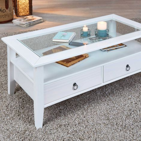 Table basse Provence 115x60 avec 2 tiroirs pin massif - blanc
