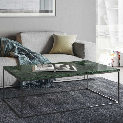Table basse Gleam 120x75 - marbre vert/chrome
