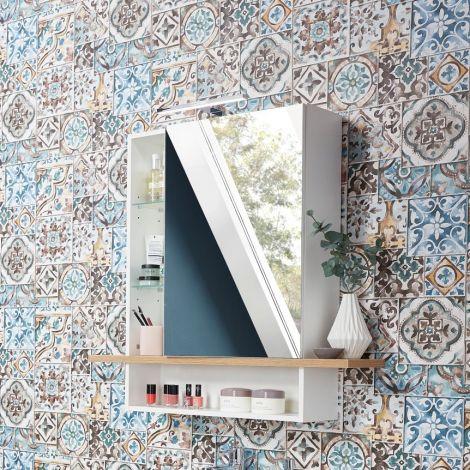 Armoire de toilette Nove Mila 90cm - blanc/chêne