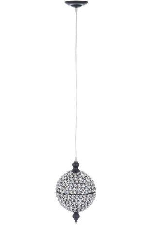 Lampe led pendante boule verre taille fer/verre noir medium 20,5x20,5x33cm