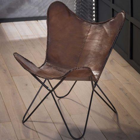 Chaise de papillon cuir - Lot de 2 - Brun