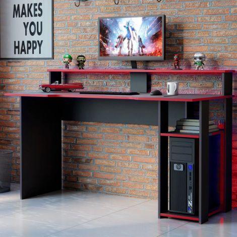 Bureau gaming Markies 136cm - noir/rouge