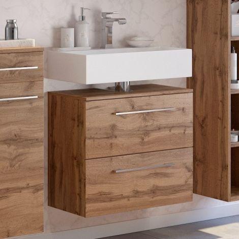 Meuble sous lavabo Sefa 60cm 1 porte & 1 tiroir - chêne wotan