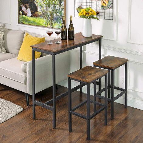Table de bar Isolde 100x40 - brun/noir