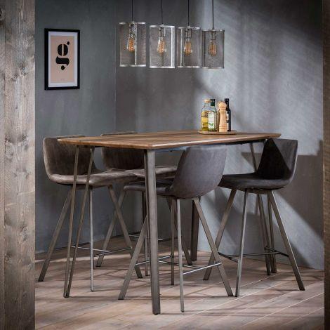 Table de bar 140x70 cadre en V - 3D Chêne en lavage brun
