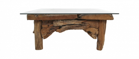 Table basse Root - 90x90 cm - naturel - teck