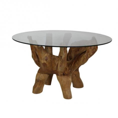 Table basse Wesley ø60 avec plateau en verre - vieux bois de racine de teck