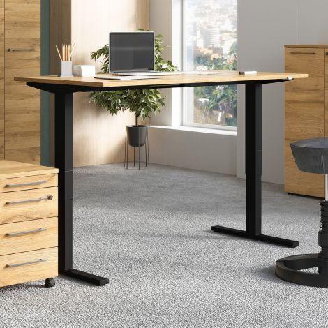 Bureau assis debout Oswald 180 cm électrique - chêne/noir