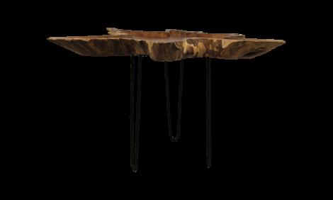 Table basse - ±70-80 cm - teck bois de carotte / fer