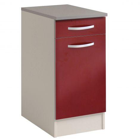 Meuble bas Spott 40x60 cm avec tiroir et porte - glossy red