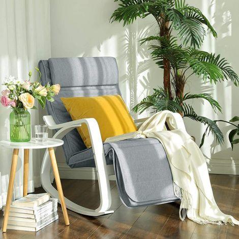 Chaise à bascule Rani - gris clair/blanc
