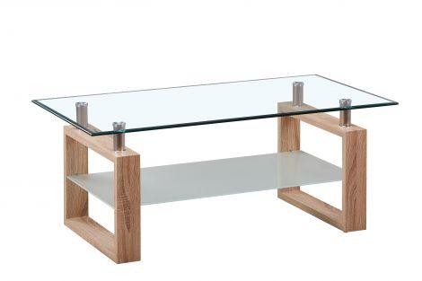 Table basse Amora avec plateau & tablette en verre - chêne