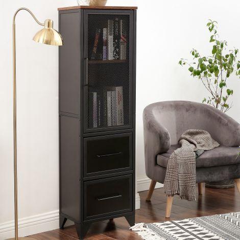Armoire vitrée Jaxx 3 portes - brun rustique/noir