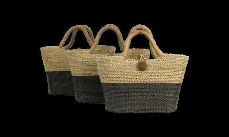 Set de paniers Malibu - noir / naturel - algues - ensemble de 3