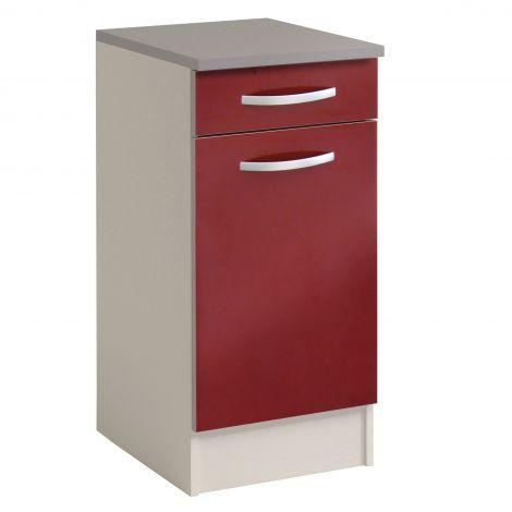 Meuble bas Spott 40x47 cm avec tiroir et porte - glossy red