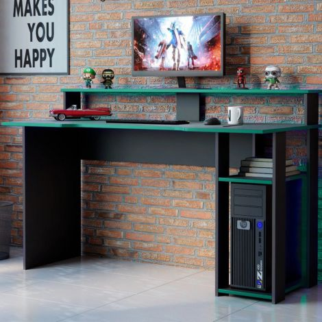 Bureau gaming Markies 136cm - noir/vert