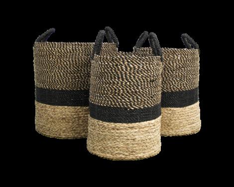 Set de paniers Malibu - noir / naturel - jacinthe d'eau - ensemble de 3