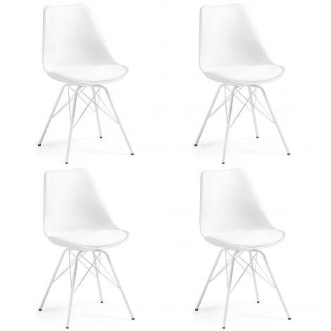 Lot de 4 chaises Ralf métal/plastique - blanc