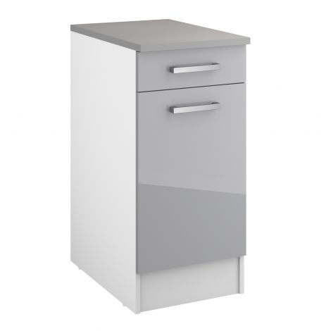 Meuble bas Eli 40 cm avec tiroir et porte - gris