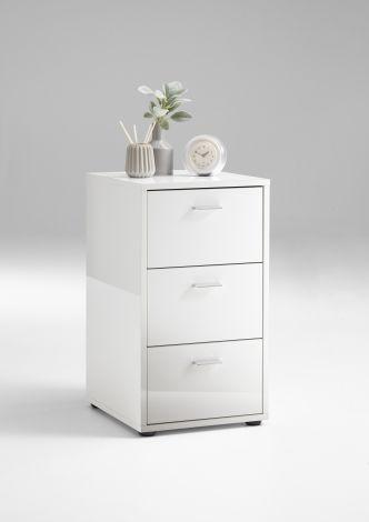 Table de chevet Valerie 3 tiroirs - blanc brillant