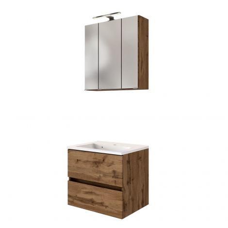 Set meuble lavabo Brama 60cm - chêne wotan